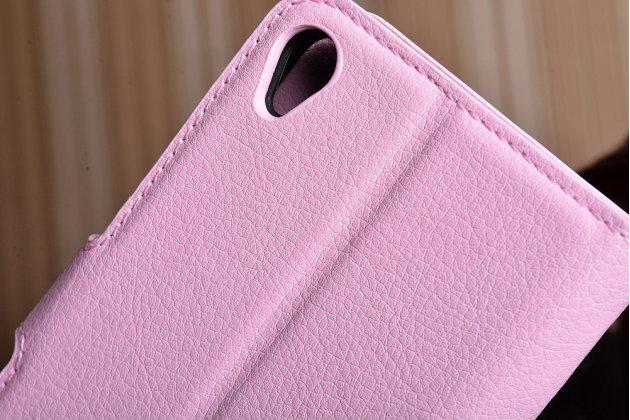 Фирменный чехол-книжка из качественной импортной кожи с подставкой застёжкой и визитницей для ASUS ZenFone Live ZB501KL розовый