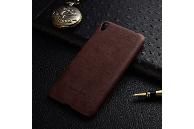"""Фирменная премиальная элитная крышка-накладка из тончайшего прочного пластика и качественной импортной кожи  для ASUS ZenFone Live ZB501KL  """"Ретро под старину"""" шоколадная"""