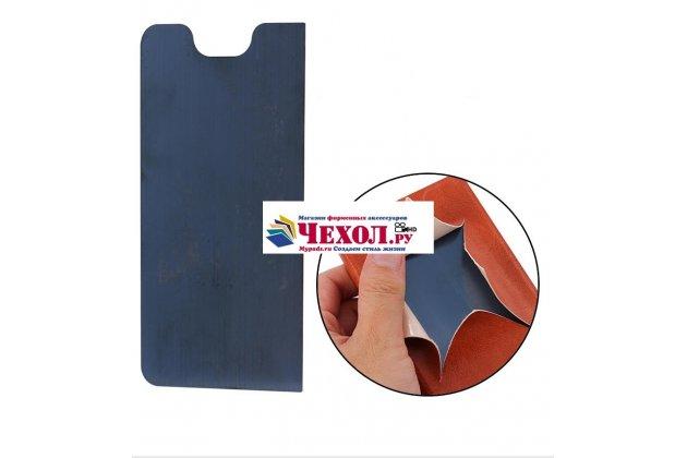 Фирменный чехол-книжка из качественной водоотталкивающей импортной кожи на жёсткой металлической основе для ASUS ZenFone Live ZB501KL коричневый