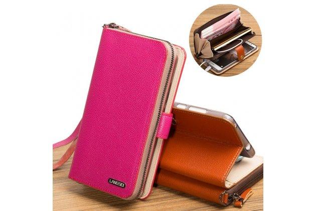 Фирменный чехол-портмоне-клатч-кошелек на силиконовой основе из качественной импортной кожи для ASUS ZenFone Live ZB501KL розовый