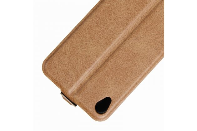 Фирменный оригинальный вертикальный откидной чехол-флип для ASUS ZenFone Live ZB501KL коричневый из натуральной кожи Prestige
