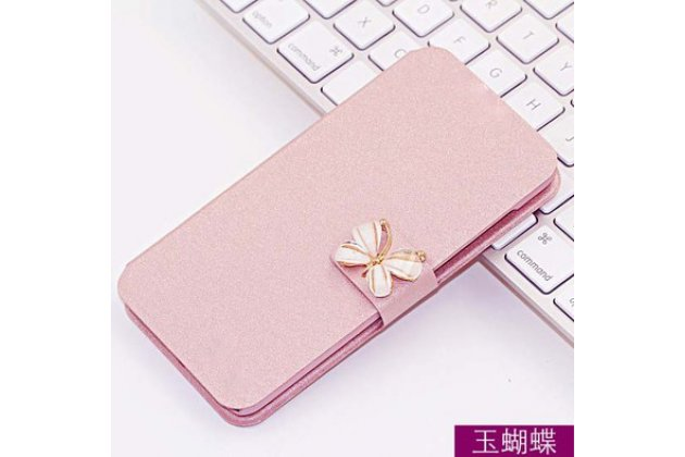 Фирменный роскошный чехол-книжка безумно красивый декорированный бусинками и кристаликами на ASUS ZenFone Live ZB501KL цвет персиковый