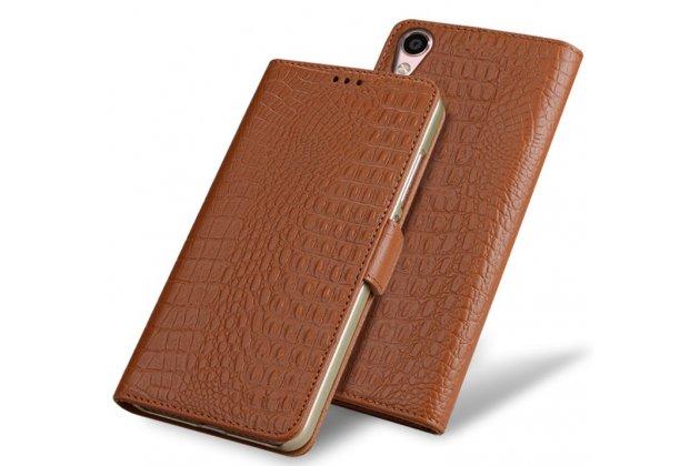 Фирменный роскошный эксклюзивный чехол с фактурной прошивкой рельефа кожи крокодила и визитницей коричневый для ASUS ZenFone Live ZB501KL. Только в нашем магазине. Количество ограничено