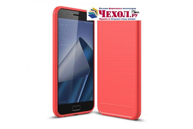"""Задняя панель-крышка из тончайшего и прочного силикона для ASUS ZenFone Live ZB553KL (5G082RU) 5.5 / Android 7.0 с матовой отделкой """"под карбон"""" красная"""
