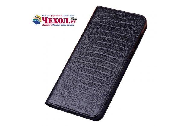 Фирменный роскошный эксклюзивный чехол с фактурной прошивкой рельефа кожи крокодила черный для ASUS Zenfone Max Plus (M1) X018DC/ ZB570TL 5.7. Только в нашем магазине. Количество ограничено