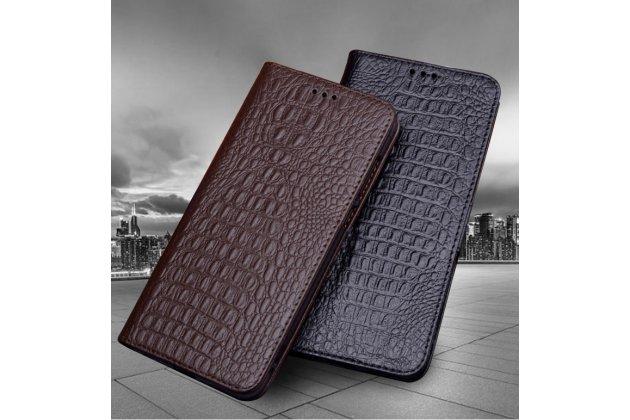 Фирменный роскошный эксклюзивный чехол с фактурной прошивкой рельефа кожи крокодила коричневый для ASUS Zenfone Max Plus (M1) X018DC/ ZB570TL 5.7. Только в нашем магазине. Количество ограничено