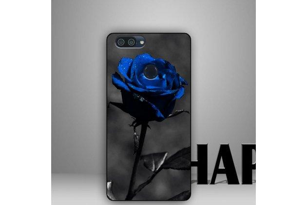 """Фирменная роскошная задняя панель-чехол-накладка  из мягкого силикона с безумно красивым расписным 3D рисунком на ASUS Zenfone Max Plus (M1) X018DC/ ZB570TL 5.7 тематика """"Синяя роза"""""""