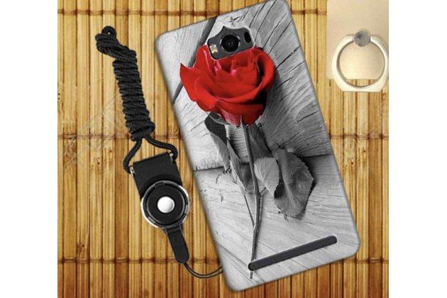 Фирменная уникальная задняя панель-крышка-накладка из тончайшего силикона для Asus Zenfone Max ZC550KL/ 2 MAX 5.5 с объёмным 3D рисунком тематика Роза