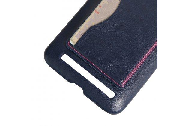 Фирменная роскошная элитная премиальная задняя панель-крышка для Asus Zenfone Max ZC550KL/ 2 MAX 5.5 из качественной кожи буйвола с визитницей синий