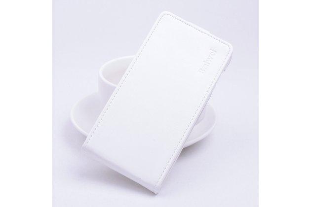 Фирменный оригинальный вертикальный откидной чехол-флип для Asus Zenfone Max ZC550KL/ 2 MAX 5.5 белый из натуральной кожи Prestige
