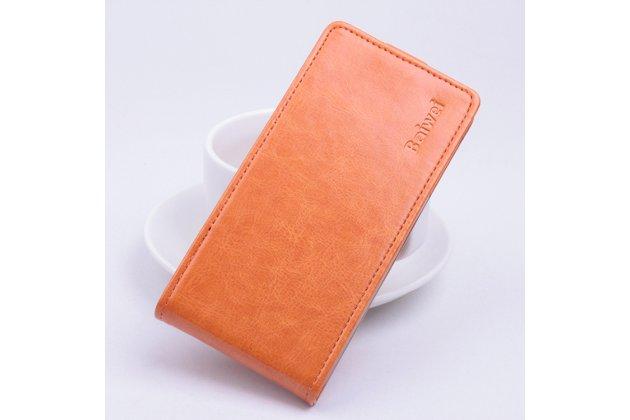 Фирменный оригинальный вертикальный откидной чехол-флип для Asus Zenfone Max ZC550KL/ 2 MAX 5.5 оранжевый из натуральной кожи Prestige