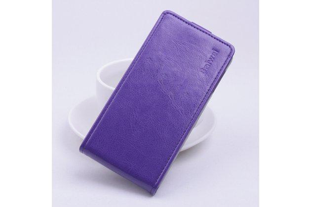 Фирменный оригинальный вертикальный откидной чехол-флип для Asus Zenfone Max ZC550KL/ 2 MAX 5.5 фиолетовый из натуральной кожи Prestige
