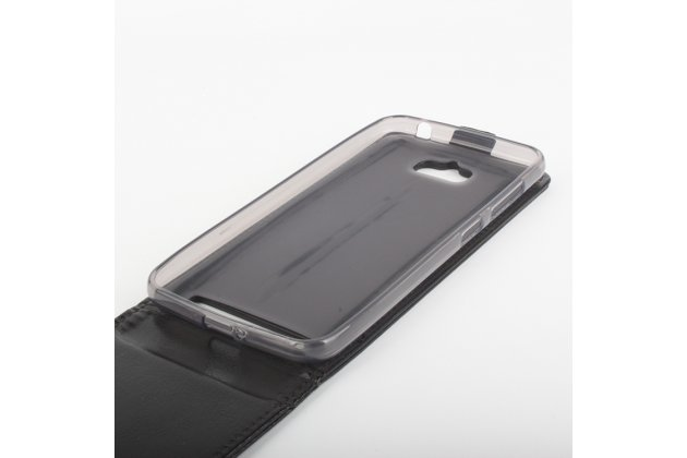 Фирменный оригинальный вертикальный откидной чехол-флип для Asus Zenfone Max ZC550KL/ 2 MAX 5.5 черный из натуральной кожи Prestige Италия