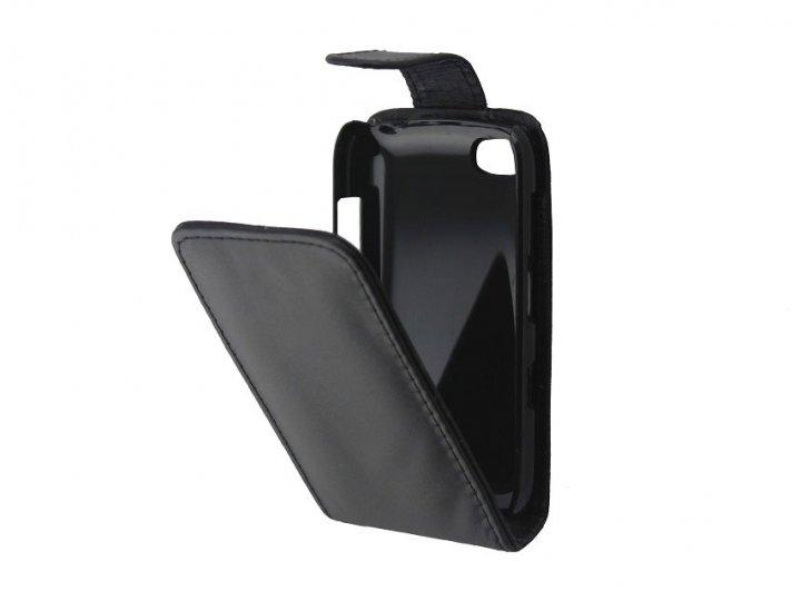 Фирменный оригинальный вертикальный откидной чехол-флип для BlackBerry 9720 черный из натуральной кожи Prestig..