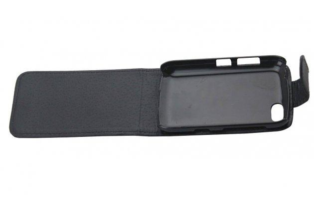 Фирменный оригинальный вертикальный откидной чехол-флип для BlackBerry 9720 черный из натуральной кожи Prestige