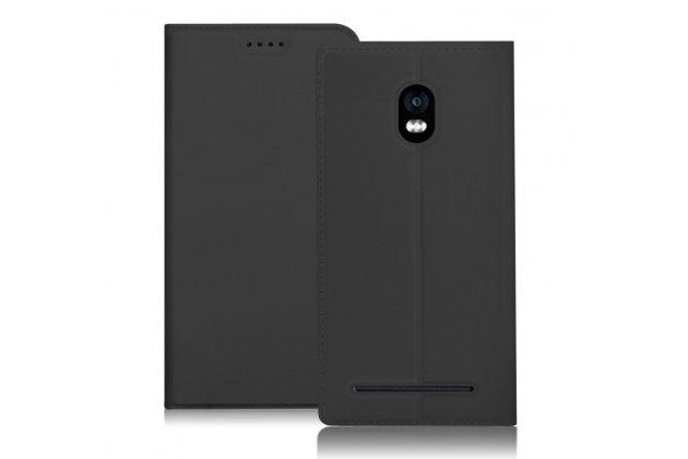 Фирменный чехол-книжка из качественной импортной кожи с подставкой и визитницей для BlackBerry Aurora черный