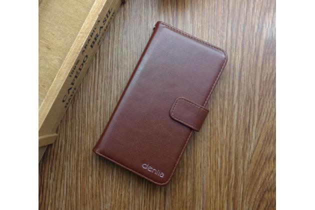Фирменный чехол-книжка из качественной импортной кожи с подставкой застёжкой и визитницей для BlackBerry Aurora коричневый