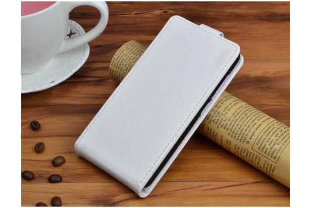 Фирменный оригинальный вертикальный откидной чехол-флип для BlackBerry Aurora белый из натуральной кожи Prestige Италия