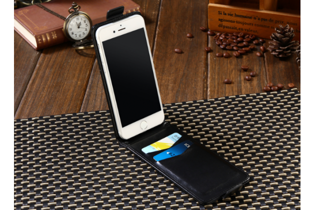 Фирменный оригинальный вертикальный откидной чехол-флип для BlackBerry Aurora черный из натуральной кожи Prestige Италия