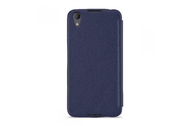 Фирменный оригинальный чехол-кейс из импортной кожи Quick Circle для BlackBerry Neon/ BlackBerry DTEK50 с умным окном синий