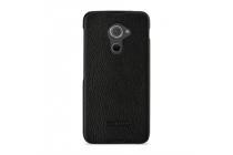 Фирменная премиальная элитная крышка-накладка из тончайшего прочного пластика и качественной импортной кожи  для Blackberry DTEK60  черная
