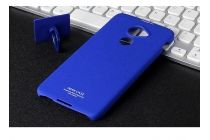 Задняя панель-крышка из прочного пластика с матовым противоскользящим покрытием для Blackberry DTEK60 с подставкой в синем цвете