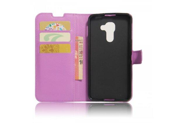Фирменный чехол-книжка из качественной импортной кожи с подставкой застёжкой и визитницей для Blackberry DTEK60 фиолетовый