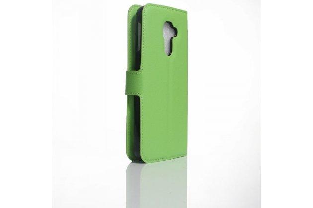 Фирменный чехол-книжка из качественной импортной кожи с подставкой застёжкой и визитницей для Blackberry DTEK60 зеленый