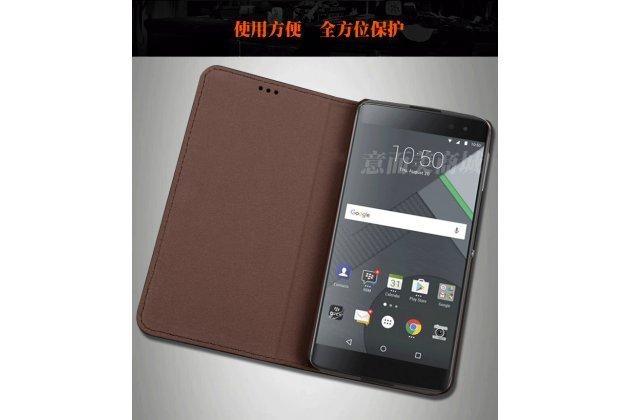 Фирменный роскошный эксклюзивный чехол с фактурной прошивкой рельефа кожи крокодила черный для Blackberry DTEK60