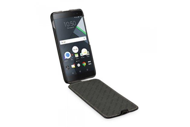 Фирменный умный элитный вертикальный откидной чехол-флип с функцией засыпания для Blackberry DTEK60 черный из натуральной кожи Prestige Италия