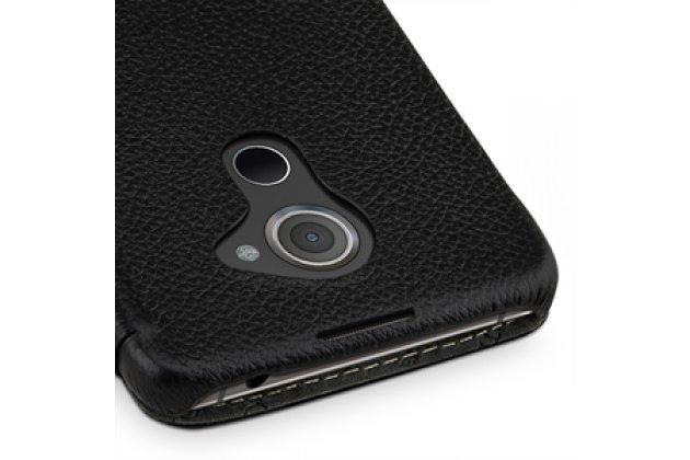 Фирменный умный премиальный элитный чехол-книжка из качественной импортной кожи с функцией засыпания для Blackberry DTEK60 черный