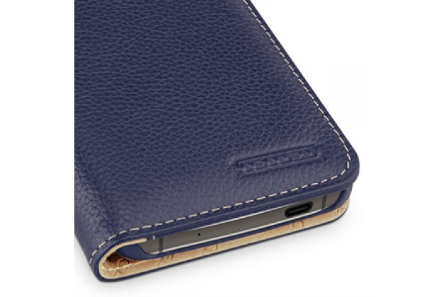 Фирменный умный премиальный элитный чехол-книжка с визитницей из качественной импортной кожи с функцией засыпания для Blackberry DTEK60  синий