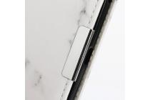 Фирменный чехол-книжка из качественной кожи с подставкой застёжкой и визитницей c рисунком белый мрамор для Blackberry DTEK60