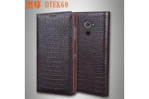 Фирменный роскошный эксклюзивный чехол с фактурной прошивкой рельефа кожи крокодила коричневый для Blackberry DTEK60