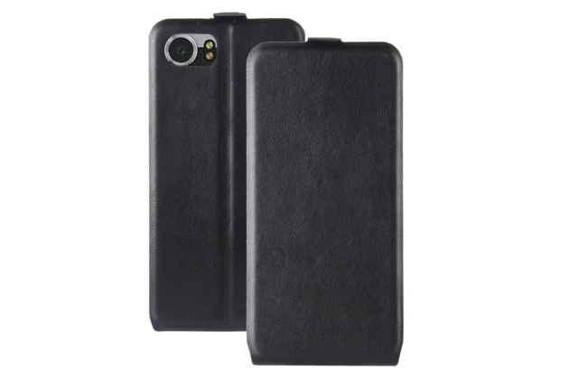 Фирменный оригинальный вертикальный откидной чехол-флип для BlackBerry KEYone/ DTEK70 черный из натуральной кожи Prestige Италия