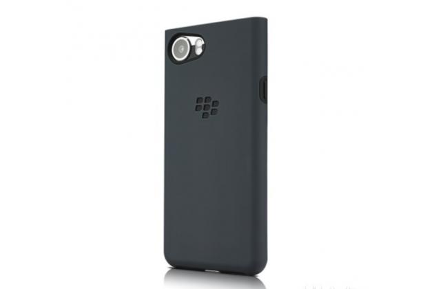 Фирменная оригинальная подлинная задняя панель-крышка с логотипом из мягкого качественного силикона для BlackBerry KEYone/ DTEK70 серая