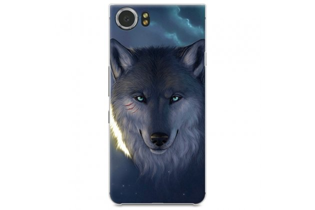 """Фирменная задняя панель-крышка-накладка из тончайшего и прочного пластика для BlackBerry KEYone/ DTEK70 """"тематика дикий волк"""""""