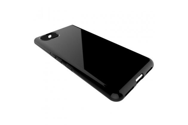 Фирменная задняя панель-крышка-накладка из ультра-тонкого силикона для BlackBerry KEYone/ DTEK70 черная