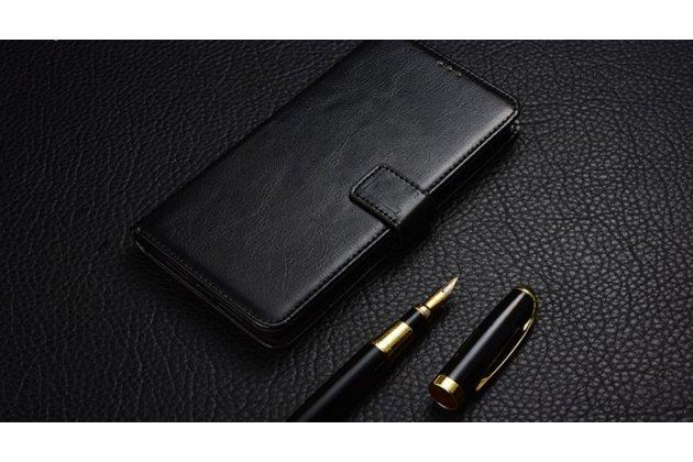 Фирменный чехол-футляр-книжка для BlackBerry KEYone/ DTEK70 черный кожаный