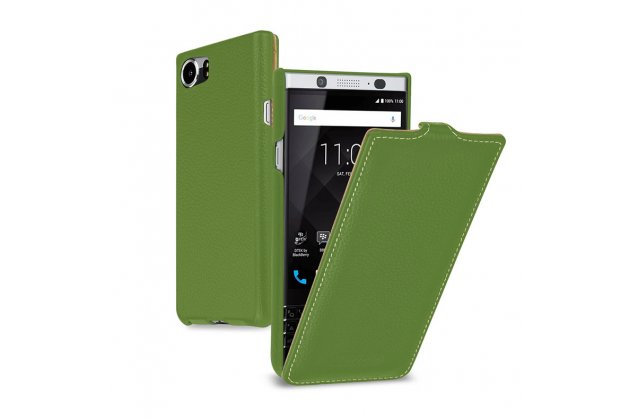 Фирменный оригинальный вертикальный откидной чехол-флип для BlackBerry KEYone/ DTEK70 зеленый из натуральной кожи Prestige