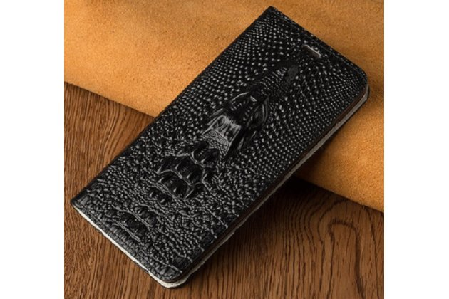 Фирменный роскошный эксклюзивный чехол с объёмным 3D изображением кожи крокодила черный для BlackBerry KEYone/ DTEK70 . Только в нашем магазине. Количество ограничено