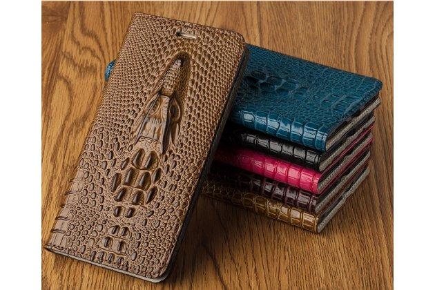 Фирменный роскошный эксклюзивный чехол с объёмным 3D изображением кожи крокодила коричневый для BlackBerry KEYone/ DTEK70 . Только в нашем магазине. Количество ограничено