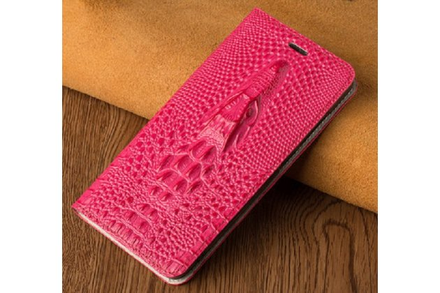 Фирменный роскошный эксклюзивный чехол с объёмным 3D изображением кожи крокодила розовый для BlackBerry KEYone/ DTEK70 . Только в нашем магазине. Количество ограничено
