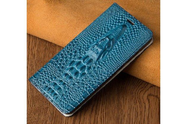 Фирменный роскошный эксклюзивный чехол с объёмным 3D изображением кожи крокодила синий для BlackBerry KEYone/ DTEK70 . Только в нашем магазине. Количество ограничено