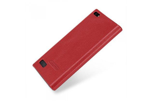 Фирменная премиальная элитная крышка-накладка из тончайшего прочного пластика и качественной импортной кожи для BlackBerry Leap Z20  Ретро под старину красная