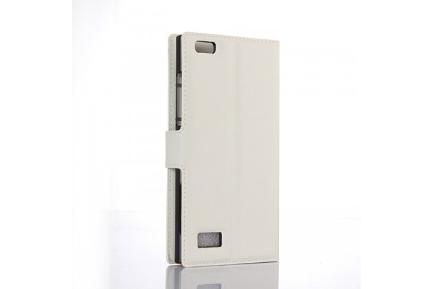 Фирменный чехол-книжка из качественной импортной кожи с мульти-подставкой застёжкой и визитницей для BlackBerry Leap Z20 белый