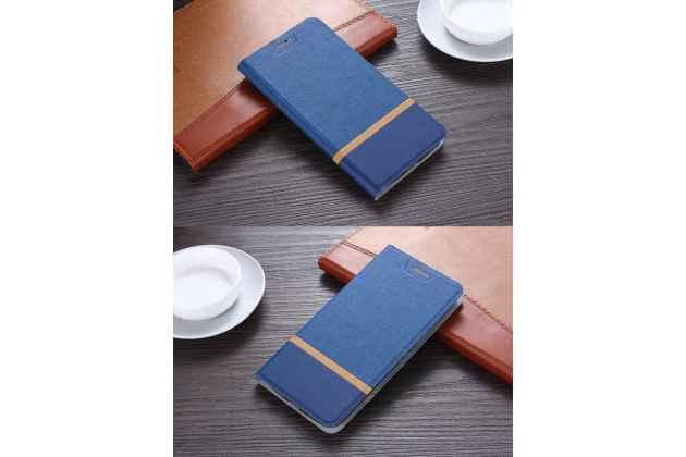 Фирменный чехол-книжка водоотталкивающий с мульти-подставкой на жёсткой металлической основе для BlackBerry Krypton синий из настоящей джинсы