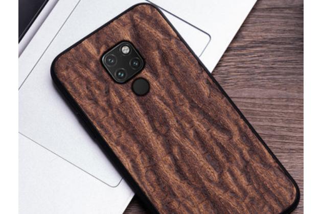 Фирменная роскошная задняя панель-крышка обтянутая импортной кожей для Huawei Mate 20 6.53 с дизайном под дерево коричневая