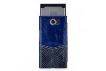 Фирменный премиальный элитный чехол-книжка из качественной кожи буйвола для BlackBerry Priv  синий с вставкой под кожу рептилии