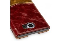 Фирменный премиальный элитный чехол-книжка из качественной кожи буйвола для BlackBerry Priv  красный с коричневой вставкой
